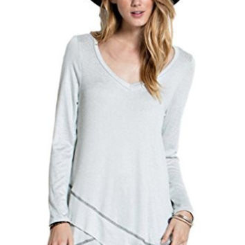 Easel Women's Bohemian Long Sleeved Ruffled Tunic Top