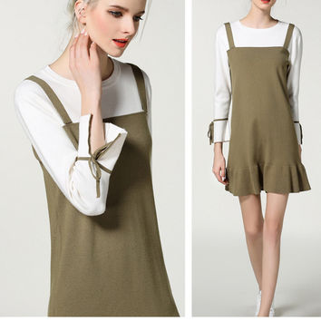 Fashion Simple Fake Two Knitted Long Sleeve Dress