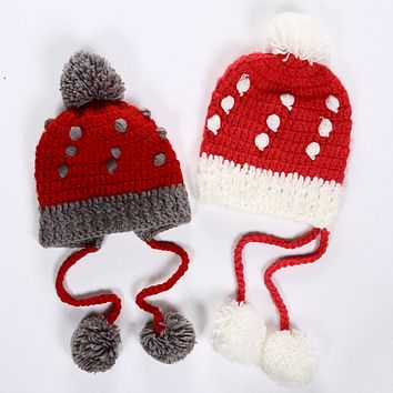 Cute Fashion Multicolor Strawberry Tassel Hairball Manual Knit Beanie Hat Winter Accessories