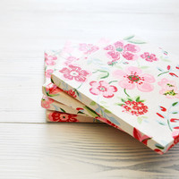 GreenGate Flowers, Ceramic Tile Coasters, White Pink, Set of 4