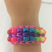Double Bead Bracelet Pink Blue Purple Yellow Orange Red Green Rainbow Loom Handmade Rubber Band