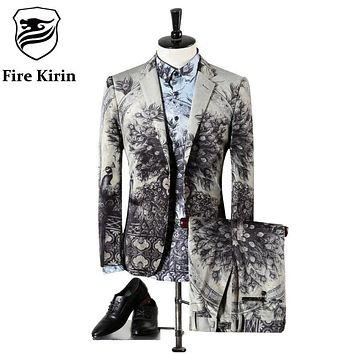 Fire Kirin Men Wedding Suits 2017 High Quality Gray Tuxedos For Men Famous Brand Peacock Printed Suits Designer Prom Suits Q307
