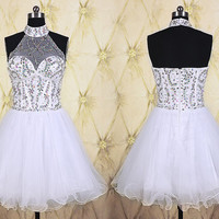 Sexy white short homecoming dress,beaded top short prom dress,halter homecoming dress,formal dress,party dress,wedding party dress DP199
