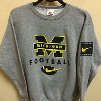 Vintage 90's Nike Michigan Just Do it Sport Classic Design Skate Sweat Shirt Sweater Varsity Jacket Size M #A399