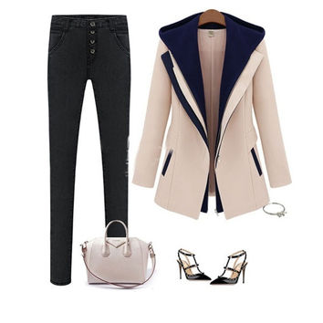 Fashion Street Jackets Women 2014 Spring Slim Faux Two Piece With A Hood Outerwear Patchwork Blazer Casual Female Coats = 1929698948
