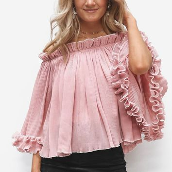 Rooftop Bar Pink Ruffle Blouse