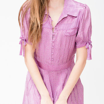 Heatherette Lavender Silk Picnic Dress In Polka Dot