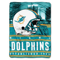 Miami Dolphins NFL Silk Touch Throw (Stacked Series) (60inx80in)