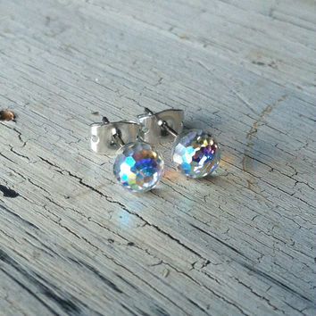 Crystal Stud Earrings 6mm - Disco Ball Sparkle Stud Earrings - Swarovski Crystal Post Earrings, Faceted Crystal Earrings