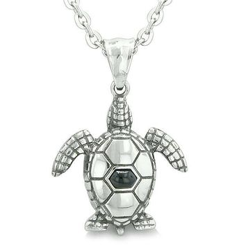 """Amulet Sea Turtle Cute Man Made Black Onyx Crystal Lucky Charm Pendant on 18"""" Necklace"""