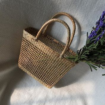 Hollow  straw vintage shopping Handbag