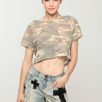 Destroyed Camo Cropped Tee
