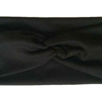 Turban Knot Wide Headband for Women, Turban Head Wrap, Headband, Twist, Head Wrap - Black