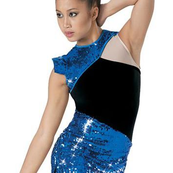 Asymmetrical Sequin Mesh Inset Dress | Balera™
