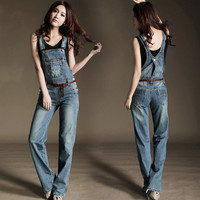 2016 hot sale overalls for women new arrival autumn denim bib pants female Bib pants female jeans overalls
