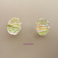 Crystal Opal Handmade Dichroic Glass Post Earrings on Sterling Silver Scalloped Stud Mounting