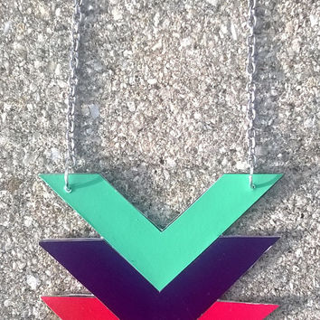 Green - Purple - Red Chevron Paint Chip Necklace