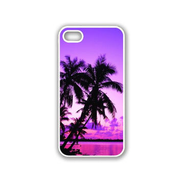 Tropical Palm Trees Sunset Purple iPhone 5 White Case - For iPhone 5/5G White Designer Plastic Snap On Case