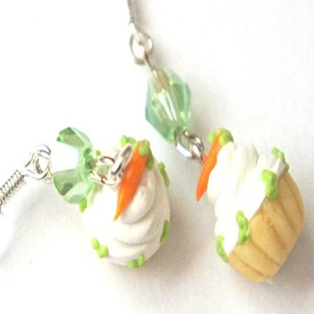 Carrot Cupcake Dangle Earrings