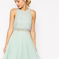 ASOS Crop Top Skater Dress With Sequin Droplets
