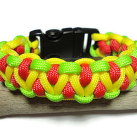 Paracord Survival Bracelet Jewelry Yellow, Red, and Green Side Release Whistle Buckle Handmade USA Military Grade Cord