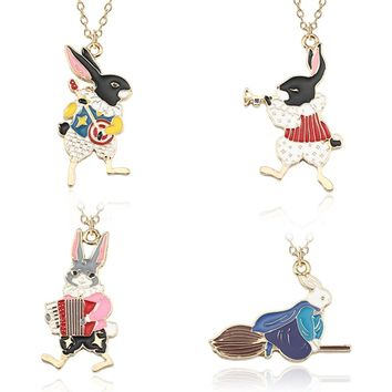 Trendy Alice In Wonderland Necklace Music Band Guitar Trumpet Accordion Broom Rabbit Pendant Enamel Animal Choker Jewelry Colar