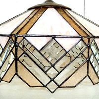 Stained Glass Lighting Pendant, Peach & Tan Slag, Etched Glass, Leaded Glass Light Fixture, No Chips, lindafrenchgallery