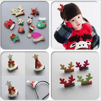 1-8pcs Xmas Hair Accessories Christmas hair clip Elk horn