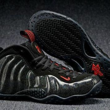 CREYONVX Jacklish Nike Air Foamposite One Gold Speckle Black-red Sale