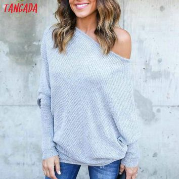 Tangada pullover sweater women autumn 2018 off shoulder batwing long Sleeve oversize sweaters female womens jumpers knitted ADY4