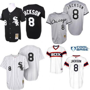 Black white grey Throwback Bo Jackson Authentic Jersey , Men's #8 Mitchell And Ness ML