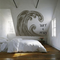 Huge Surf Ocean Wave Swirl Art - vintage inspired -- vinyl wall art decals graphic sticker by 3rdaveshore