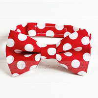 Boy's Bow Tie, Newborn, Baby, Child- Red, White Polka Dot, Toma's Tutus and Things