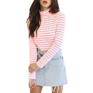 Autumn Turtleneck Striped Shirt