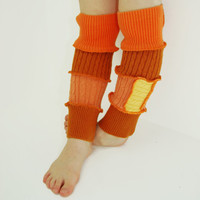 Leg Warmers for Kids - Spicy Mandarin and Burnt Orange - Recycled Sweaters - Eco Friendly