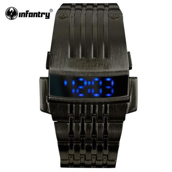 INFANTRY Mens LED Digital Wristwatches Stainless Steel Bracelet Watches Black Sports Watches Square Face Male Relogio Masculino