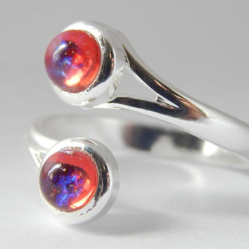 Dragons Breath Double Crossover Ring - dragons breath fire opal - dragons breath opal - mexican fire opal - dragons breath jewelry