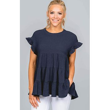 Baby Doll Tiered Woven Blouse