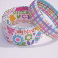 Easter Accessories bracelet set with pastel colors in plaid