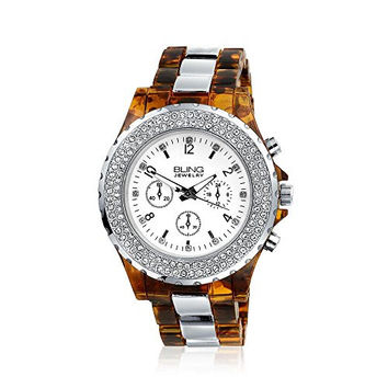 Bling Jewelry Simulated Tortoise Shell Silver Plated Boyfriend Link Watch