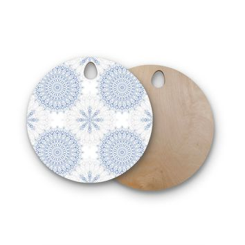 "Julia Grifol ""Mandalas In Blue"" Vector Geometric Round Wooden Cutting Board"