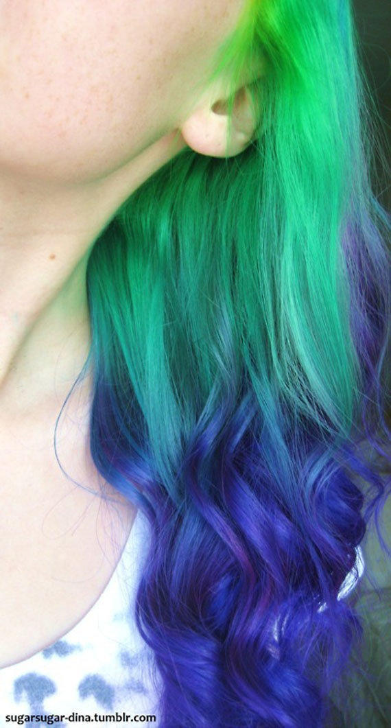 UNICORN Fantasy  GREEN To PURPLE Ombre Hair Extensions // (4) Pieces // Clip In