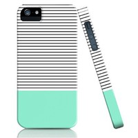 iPhone 5S Case, FEIKESI Protective Case [Scratch-Resistant] Unique Hard Back Cover Snap on Case for Iphone 5/5s (Mint & Stripe)