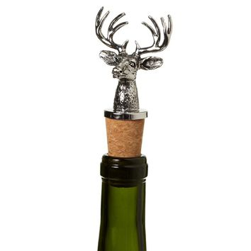 Silver Stag Head Bottle Stopper