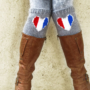 American flag heart boot cuffs, Knitted Boot Socks Heart, American flag accessories, American clothing, Heart Leg Warmers, Gifts For Her