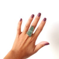 teal sea glass wire wrapped ring