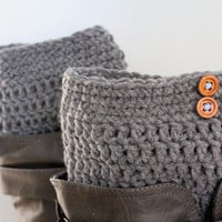 Grey Boot Cuffs,Grey Boot Toppers,Gray Legwarmers,Boot liners,Wood Button Boot Cuffs,Grey boot socks,Grey boot liners,grey rainboot liners