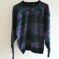 Pattern Purple Green Grandpa Sweater Vintage Oversized L