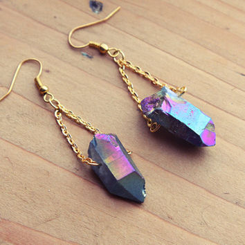 Rough Aura Quartz Point Crystal Earrings - Gold Dangle Natural Gemstone