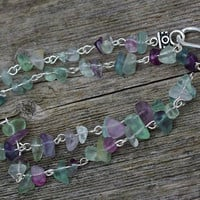 Men's Rainbow Fluorite Chip Stone Necklace ~Purple Green Natural Stones  ~ Healing Stones ~ Chakra ~ Unisex ~ Gift for Father